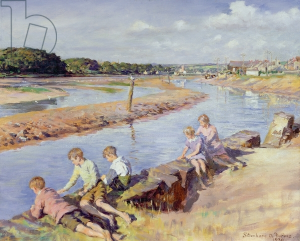 Young Anglers at Hayle, 1930 by Forbes, Stanhope Alexander (1857-1947) - Bridgeman Images - art images & historical footage for